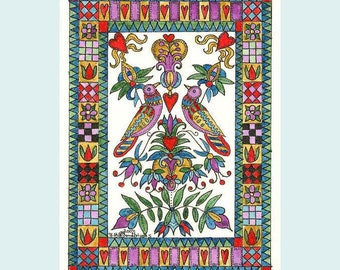 Fraktur  Folk Art  Birds in a Floral and Geometric Border ACEO from Theodora