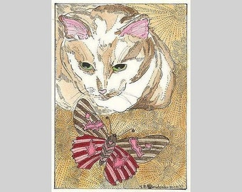 Kitty and Butterfly ACEO  Print  from Theodora