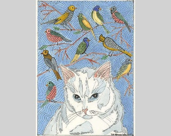 Aceo Art Print Signed Limited Edition   Cat Dreaming about her Birds from Theodora
