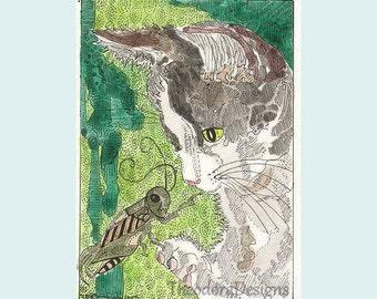 ACEO Kitty Cat Gray and White Tuxedo Grasshopper by Theodora