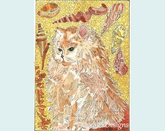 Kitty Cat  Dreaming About the Seashore  ACEO by Theodora