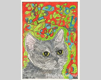 Gray Cat Out in the Sunshine ACEO by Theodora