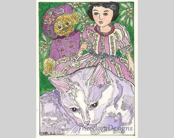 Kitty Hitty Teddy Bear Portrait ACEO Signed Limited Edition Print by Theodora