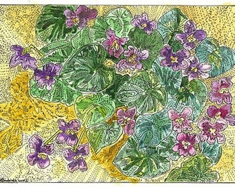 Common Meadow Violet ACEO Signed Limited Edition Print by Theodora