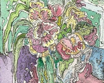 PANSIES  Aceo print  from Theodora