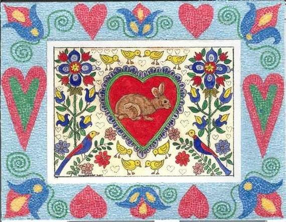 Fraktur Valentine Bunny Birds Flowers  Hearts ,Includes a Mirco Mosaic Border From Theodora