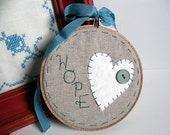READY TO SHIP - Hope Vintage Upcycled Heart Hoop - Great Stocking Stuffer - by TheCareerScrapper on Etsy