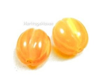 Amber Yellow Resin Necklace Melon Beads -- TWO 18x16mm -- BD-CO-40