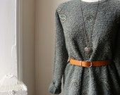 Beautiful Sage Green Wool Patterned Folk Vintage Paisley Sweater...Jumper (Medium to Large) Can Fit Many Sizes