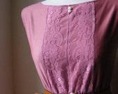 Jennifer Lilly Handmade Vintage Inspired Dress // Dusky Pink Boho Lace Floral Vintage Cotton Dress // Whimsical Romantic Dress Boudoir (Med)