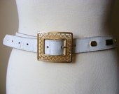 SALE...Vintage Decorative Soft White Leather Gold Motifs Belt // Boho Hipster Leather Bohemian Spring Vintage Fashion (X-Small to Small)