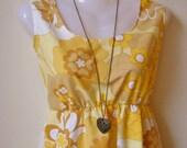 Jennifer Lilly Handmade Beautiful Yellow Mustard Cotton Sun Dress // Spring Vintage Whimsical Cream Tea Woodland Antique Dress (XS,S)