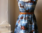 Jennifer Lilly Handmade Vintage Inspired Blue Galloping Horses in the Wilderness Vintage Cotton Dress // Animal Scenery Whimsical Dress (L)
