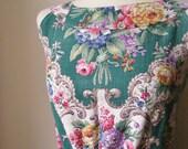 Jennifer Lilly Handmade Beautiful Bottle Green Ornate 50s English Rose Dress // Bohemian Spring Vintage Whimsical Afternoon Tea Dress (M,L)