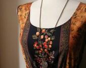 Jennifer Lilly Handmade Vintage Inspired Black Wild Flower and Fruits Meadow Dress // Boho Spring Woodland Whimsical Dress (XS)