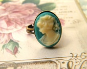 RESERVED FOR 01mimi--Teal Cameo Ring
