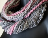 Pink & Charcoal Sparkle Infinity Lotus Lupe Double Wrap Scarf