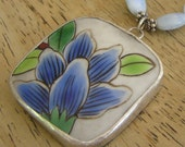 Peacock Blue Flower - Pottery Shard Necklace