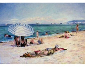 Beach at St. Tropez an oil painting