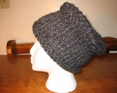 gray knitted hat with woven top