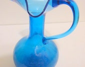 Hamon Kanawha  Mid Century  Tall Blue Crackle Glass Pitcher