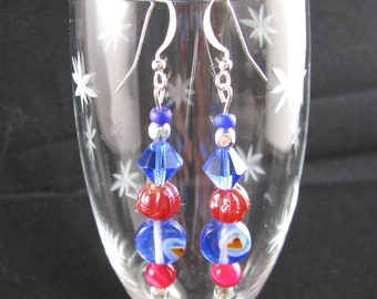 Royal Blue Foiled glass w red heart and red fluted bead earrings on sterling wire