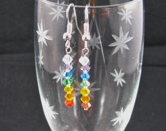 Swarovski rainbow chakra dangle earrings