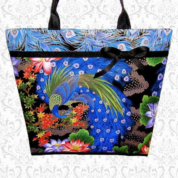 Stunning Peacock purse large tote bag