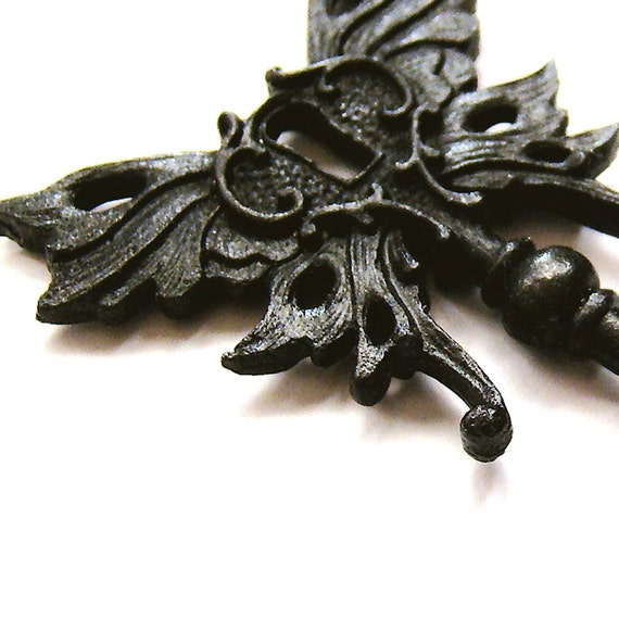 Skelton key pendant, Steampunk Winged Skeleton key BLACK SATIN