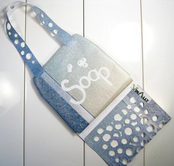Travel Soap Bag blues, beige, white, bubble motif
