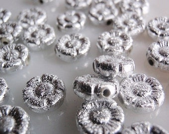 44 Spacer, Bead Supply, Pansies Shaped Frosted Stardust (Textured)  Silver-Plated,  10 MM, Double sided, 35 spacer beads