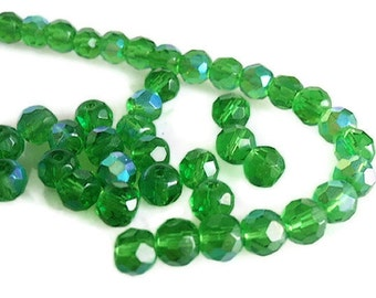 Beads, Supply / Destash , 22 Czech Fire-Polished Faceted 6 mm Round , Emerald Green Glass with AB finish