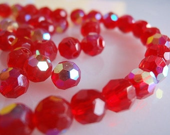 Beads, Supply / Destash ,36 Czech Fire-Polished Faceted 6 mm Round , Red Glass with AB finish