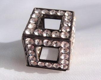 Bead Supply, 2 Cube Shaped Rhinestones, Gunmetal, 13mm X 13 MM,  Basketball Wives, Hot fashion                                        beads
