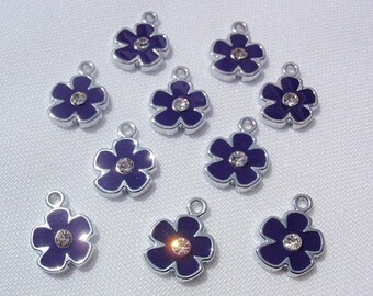 5 Indigo Flower Pendants, Finding Supply / Destash, Enameled center with Clear rhinestone, Pendant Drop, 12mm X 15mm