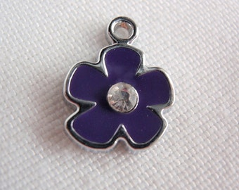 15 Indigo Flower Pendants, Finding Supply / Destash, Enameled center with Clear rhinestone, Pendant Drop, 12mm X 15mm