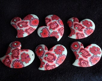 6 Clay Beads, Supply / Destash , Beautiful Handmade Hearts, Polymer Clay, white, red and pink flowers and accented with colored rhinestones