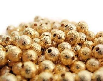 100 Beads, 4mm , Bead Supply, Round Gold Plated Brass Stardust High Luster beads, Hot fashion, lead and nickel free