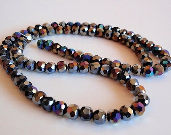48 Glass Beads, jewelry making Supply,  beautiful Faceted Round Glass Black Aurora Borealis Plated beads, 5mm