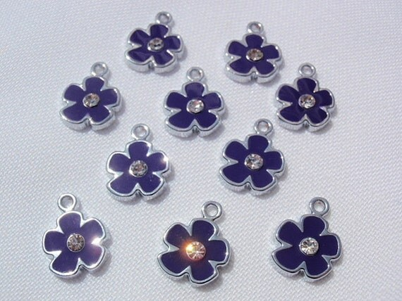 10 Indigo Flower Pendants, Finding Supply / Destash, Enameled center with Clear rhinestone, Pendant Drop, 12mm X 15mm