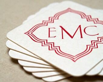 Custom Monogrammed Letterpress Coasters - Set of 100