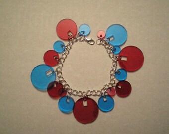 3D Bracelet - Red and Blue geometric circles