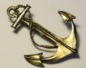 1970s Brass Anchor Brooch / Pin