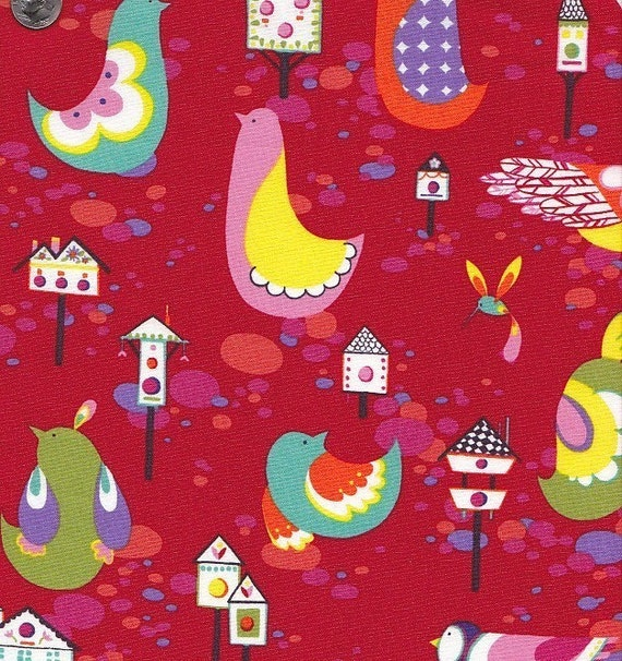 End of Bolt - Last 28 Inches In Stock - Alexander Henry Willow Wren in Red