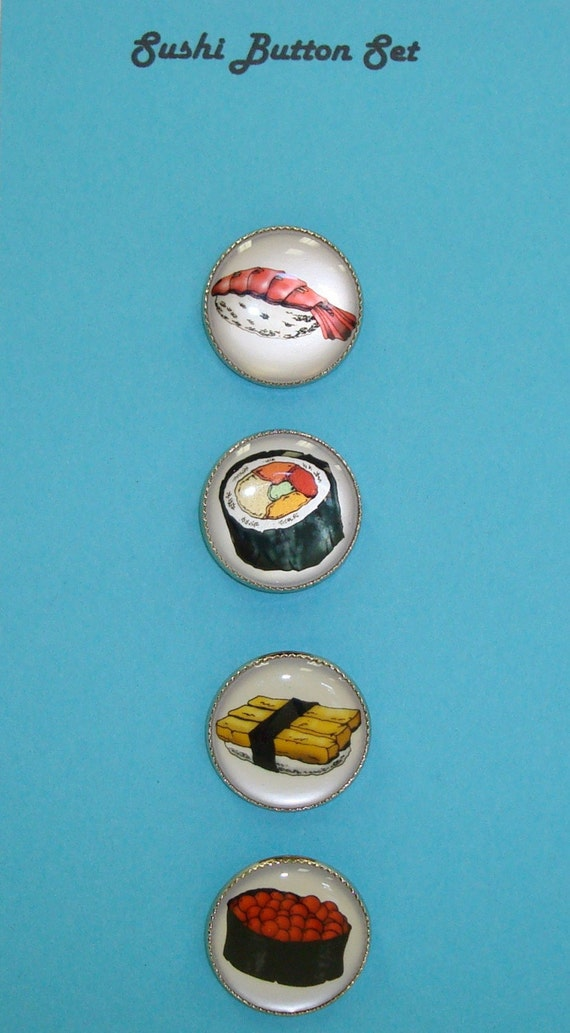 Set of Four Sushi Buttons