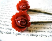 Red flower bobby pins, set of 2