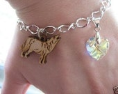 FREE FAST SHIPPING Charm Bracelet- Wooden Wolf Bracelet with Swarovski Crystal Heart