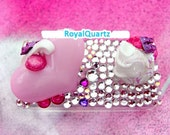Kawaii Rhinestone Box . Small storage box for change and jewelry . Royal Quartz