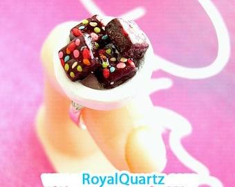 Brownie Ring . Kawaii, cute, girly, delicious, realistic, miniature . Royal Quartz