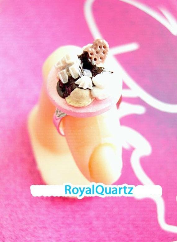 Ice Cream Sundae Ring . Kawaii cute girly miniature dessert . Royal Quartz